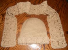 Crochet Hat and Scarf Set Tan (Buff color)
