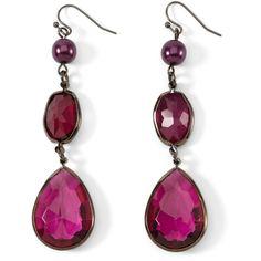 Purple/Hematite Linear Earring ($28) ❤ liked on Polyvore featuring jewelry, earrings, accessories, brincos, jewels, amethyst, rose earrings, sparkly earrings, purple jewelry and purple drop earrings