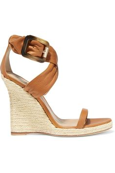 0abeab57456 BURBERRY LONDON London Leather Espadrille Wedge Sandals Brown Wedge Sandals