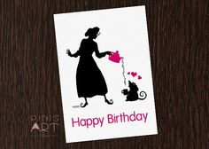 Happy Birthday Illustrated Card printable,  Tea Party  Hand made - Love it!