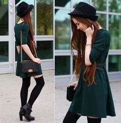 Sheinside Dark Green Dress, Romwe Black Quilted Bag Witch Chain, Mohito Black Hat, Arafeel Black Over Knee Socks, Ecugo Black Leather Boots, Romwe Gold Bracelet, Black Belt