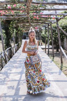 Dolce & Gabbana printed crop top, maxi skirt and handbg+colourfull lace up flat sandals. Summer outfit 2016 |