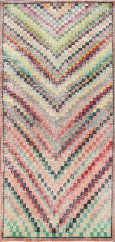 Hand-knotted Vintage Turkish Overdyed area rug