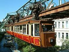 The Schwebebahn in Wuppertal, Germany, is the oldest electric elevated railway in the world. The Kaiserwagen is an original carriage that carried Kaiser Wilhelm II in 1910 -- it still travels the monorail today offering a nostalgic ride and refreshments.