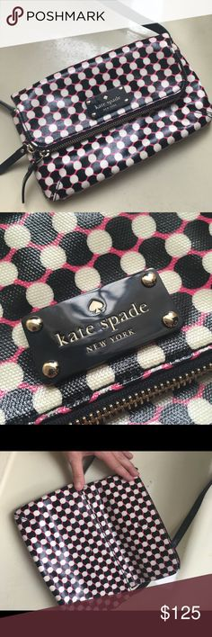 """Kate Spade Crossbody Bag ♠️ Basically Brand New! Rare Dundee Drive Alec Bag in Bazooka Pink. 6.5"""" h x 10"""" wide. Drop length is 17"""". This was gifted to me and is far too small for my needs. It would be a perfect weekend bag for day trips!! ♠️ Because it was a gift, I cannot guarantee authenticity. I believe this to be real (although likely purchased at an outlet). There is one small smudge on one dot on the Bag. See close up in last pic. It's not noticeable but I wanted to note the condition…"""