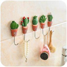 cactus garden room hook organize bathroom decor