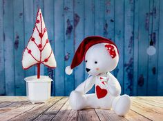 Best price Christmas white bear. Textile toy. Soft toy. by OwlsUa
