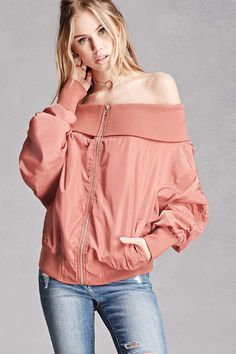 A woven bomber jacket featuring an off-the-shoulder design with a fold-over ribbed neckline, long ruched sleeves, a zipper front, front slant pockets, an interior slip pocket, and ribbed trim. This is an independent brand and not a Forever 21 branded item.