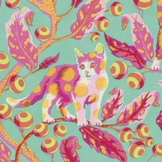 Tula Pink - Tabby Road - Disco Kitty in Strawberry Fields