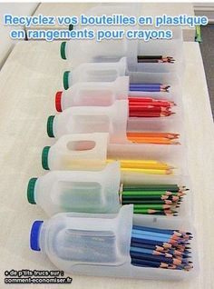 Vous connaissez ces grosses briques de lait en plastique ? Ou bien ces bouteilles de produits ménagers, celles avec une poignée ? Vous pouvez désormais les recycler en rangement à crayons de couleur ! :-)  Découvrez l'astuce ici : http://www.comment-economiser.fr/rangement-crayons-couleurs.html?utm_content=bufferc9a3f&utm_medium=social&utm_source=pinterest.com&utm_campaign=buffer