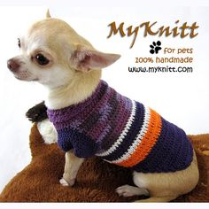 Purple Neon Dog Clothing Cat Clothes Personalized Pet by myknitt #handmade #dogclothes #petboutique #tagt #chihuahua #cutedog #purple #violet