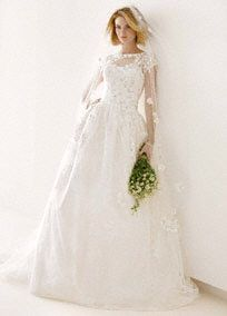 Ball gown with short sleeves - I love this!!!  A traditional demure silhouette with modern updates makes this wedding dress stylish, graceful and chic!  Lacquered lace ball gown features illusion neckline with cap sleeves.  Intricate lace applique detailing.  Chapel train. Available in Ivory. Sizes 0-14 in select stores and by special order. Sizes 0-26 by special order at all stores.