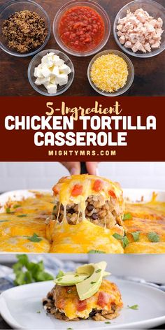 Chicken Tortilla Casserole - A quick and easy chicken dinner recipe that takes just 5 minutes to prep and calls for 5 ingredients. Plus, it's delicous! Made with rotisserie, Shortcuts, or leftover cooked chicken, cooked brown rice and quinoa, salsa, cream cheese and a Mexican cheese blend. Add optional toppings like fresh avocado slices, tortilla chips and hot sauce. Layer in corn and black beans if you want. A simple chicken dinner idea similar as easy as lasagna yet with Mexican flavors. Easy Chicken Dinner Recipes, Fun Easy Recipes, Brunch Recipes, Quick Easy Meals, Drink Recipes, Mexican Food Recipes, Chicken Tortilla Casserole, Casserole Recipes, Cooked Chicken