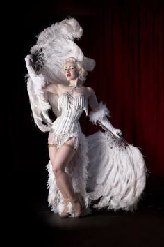 ♥ ~ ♥ White ♥ ~ ♥ Burlesque feather outfit.