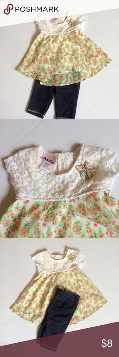 Two piece spring set Adorable spring/summer set by Little Lass. The top has a cream lace on top and a chiffon flowy bottom with a flower print.  Bottoms are a jean like material.  In excellent condition. Little Lass Dresses