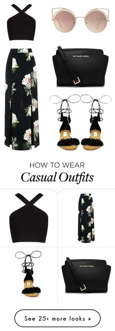 Casual black look with maxi floral black skirt, criss cross halter crop top and black sandals Topshop, BCBGMAXAZRIA, Steve Madden, MICHAEL Michael Kors and MANGO Mode Outfits, Fashion Outfits, Womens Fashion, Skirt Outfits, Fashion Shoes, Airport Outfits, Fashion Clothes, School Outfits, Dress Fashion