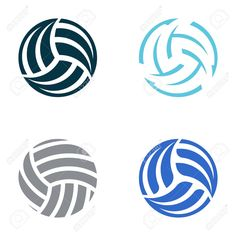 Set Of Four Volleyball Ball Abstract Icons Royalty Free Cliparts ...