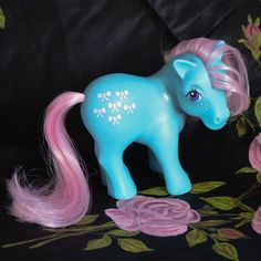 ATCTTeam - Vintage My Little Pony 'Bow Tie' Blue Pink  Freckles  by TeaJay, Vintage  Toy  Animal  My Little Pony  MLP  G1  Pink  UK  1983  Blue  Bow Tie  Freckles  ATCTTeam  Mint Lacitos  Lacinho