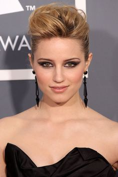 Dianna Agron back-combed her blonde locks and opted for a grungy up-do at the Grammy Awards. Photo by: PA Photos. Source: Glamourmagazine.co.uk.