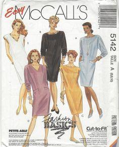 Easy McCalls 5142 Misses Dresses vintage sewing pattern  1990  UNCUT  Size A (6…