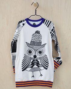 Mainio Clothing: Girls' organic owl tunic sweatshirt