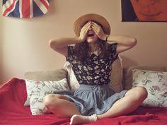 H&M Straw Hat, Grandma's Watch, Primark Daisy Printed Top, H&M Denim Skirt, River Island Lace Socks