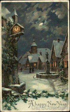 Snowy Village New Year's