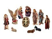 """Large 12-Piece Outdoor Nativity Set With Stable Christmas Yard Art Decoration. 12-Piece Outdoor Nativity Set Item #7047512-piece set includes: Wiseman in purple kneeling: 26""""H x 17""""W x 16""""D Wiseman with gold pot: 35""""H x 16""""W x 16""""D Wiseman with jewelry box: 36""""H x 17""""W x 10""""D Joseph: 34""""H x 15""""W x 9""""D Mary: 27""""H x 17""""W x 15""""D Cow: 15""""H x 24""""W x 11""""D Donkey: 18""""H x 24""""W x 11""""D Shepherd: 36""""H x 18""""W x 12""""D Angel: 36""""H x 17""""W x 13""""D Baby Jesus: 10""""L x 7""""W x 3""""D (Baby Jesus is separate from the…"""