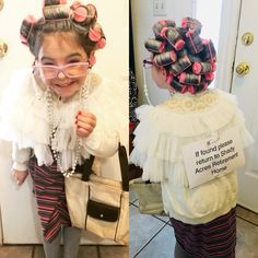 Dressed up like a 100 year old lady for the day of school.You can find Old lady costume and more on our website.Dressed up like a 100 year old lady f. Kids Old Lady Costume, Old People Costume, Grandma Costume, Grandma Halloween Costume, Twin Halloween, Halloween Costumes, Old Lady Dress, Dress Up Day, Kids Dress Up
