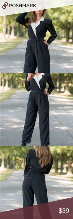 Vintage black and white jumpsuit (size medium) Brand is SK & Company. Material is a rayon acetate blend. Dry clean only    { m e a s u r e m e n t s }  taken with garment laying flat s h o u l d e r : 17 inches (seam to seam) b u s t : 19 inches (armpit to armpit) w a i s t : 12 to 14 inches across h i p : 23 inches (at widest point) t o r s o : 31 inches (shoulder to crotch) p a n t : 41 inches (waist to hem) i n s e am : 26.5 inches  t h i g h : 12.5 inches across (at widest point on upper…