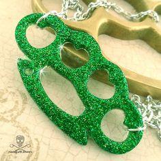 Green glitter brass knuckles necklace