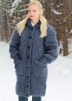 Hand knitted mohair coat in bluish gray by SuperTanya