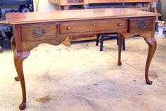 queen anne desk refinished