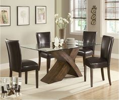 5 Piece Full  Dining Room Set Furniture Glass Top Table with Chairs Furniture #Modern