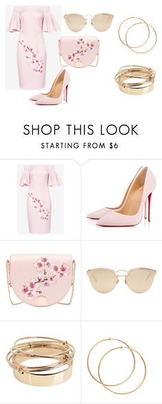"""Untitled #57"" by sharon-s-molnar on Polyvore featuring Ted Baker, Christian Louboutin, Christian Dior and Valentino"