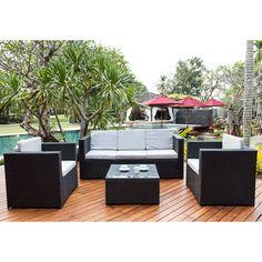 Sitzgruppe Paradise Lounge (4 Teilig)   Webstoff / Polyrattan   Hellgrau /  Anthrazit