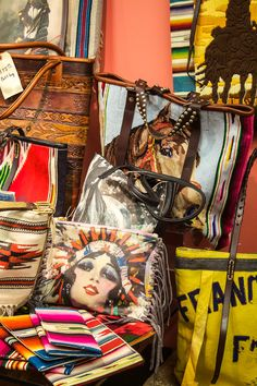 Totem Salvaged, assorted colorful and handmade bags