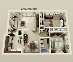 "Designs For 2 Bedroom House Pleasing 50 Three ""3"" Bedroom Apartmenthouse Plans  Apartment Floor Plans Review"