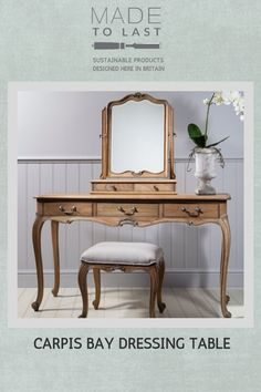 Our Charlotte French dressing table features a solid oak body with oak veneers and four draws; this makes it an elegant piece of classic French bedroom furniture. With a lacquer finish it is a beautiful piece of oak wood bedroom furniture. Furniture Dressing Table, Dressing Table Design, Dressing Table With Stool, Dressing Table Mirror, Table Furniture, Home Furniture, Bedroom Furniture, Bedroom Headboards, Hudson Furniture