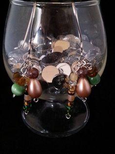 Handmade earrings silver green browns hooks by BySunshineDesign