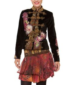Take a look at this Black Floral Jacket by Desigual on #zulily today!