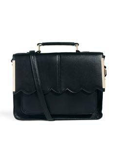 ASOS | ASOS Satchel Bag With Scallop Bar Detail at ASOS