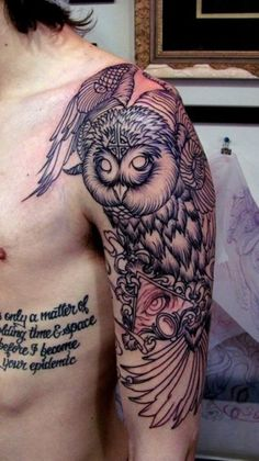 quote-owl-tattoo-design-for-men-on-sleeve ~ http://heledis.com/some-of-the-owl-tattoo-design/