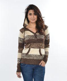 Brown & Tan Stripe Pullover Hoodie by  #zulily #zulilyfinds