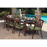 """Riviera 9-piece Dining Set -  8 dining arm chairs with seat cushions, 84"""" x 44"""" dining table. $1,799 at Costco. Aluminum with brown powdercoated paint. Chairs14.6 lbs, table 57.2 lbs."""