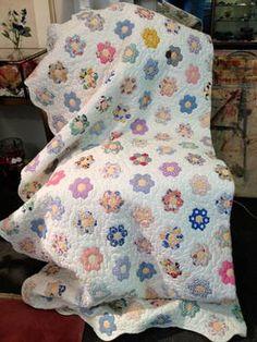 Grandmothers Flower Garden Quilt - $120