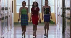 As the popular girls who rule the school, 'Jawbreaker' stars Rose McGowan, Julie Benz and Rebecca Gayheart rock mini skirts and bright colors associated with the decade.