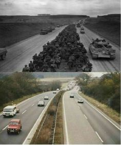 Then & Now 1945 Giessen Autobahn,  Germany