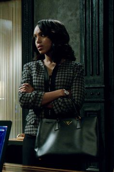 """Armani Collezioni"" black and cream plaid zip front jacket worn by Olivia Pope (Kerry Washington) on Scandal, Season 4."