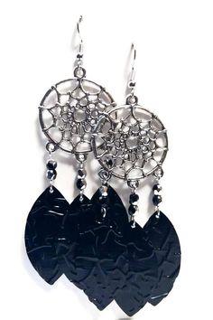 Earrings Silver earrings dream catcher feathers pearls glass